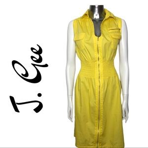 J. Gee Yellow Zip Front Ruched Dress